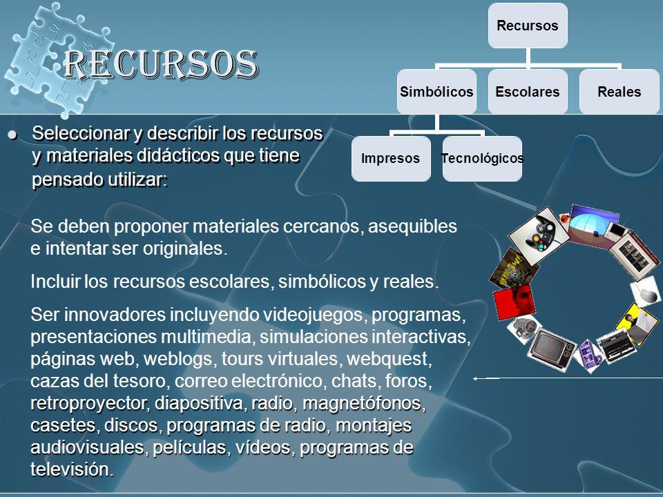 RECURSOS Seleccionar y describir los recursos y materiales didácticos que tiene pensado utilizar: Recursos Simbólicos ImpresosTecnológicos EscolaresRe