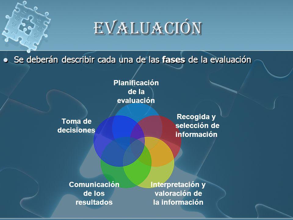 EVALUACIÓN Se deberán describir cada una de las fases de la evaluación Planificación de la evaluación Recogida y selección de información Interpretaci
