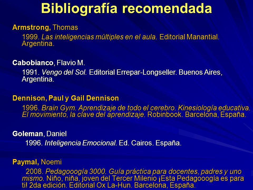 Bibliografía recomendada Armstrong, Thomas 1999. Las inteligencias múltiples en el aula. Editorial Manantial. Argentina. Cabobianco, Flavio M. 1991. V