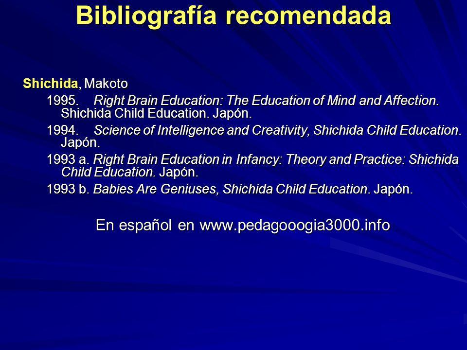Bibliografía recomendada Shichida, Makoto 1995. Right Brain Education: The Education of Mind and Affection. Shichida Child Education. Japón. 1994. Sci