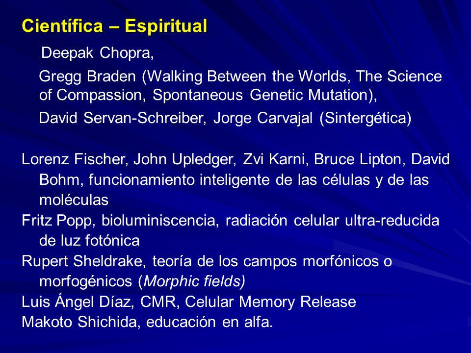 Científica – Espiritual Deepak Chopra, Gregg Braden (Walking Between the Worlds, The Science of Compassion, Spontaneous Genetic Mutation), David Serva