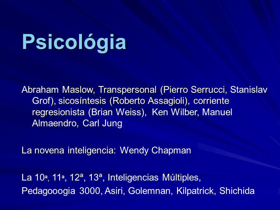 Psicológia Maslow, Transpersonal (Pierro Serrucci, ), sicosíntesis (Roberto Assagioli), corriente regresionista ( Abraham Maslow, Transpersonal (Pierr