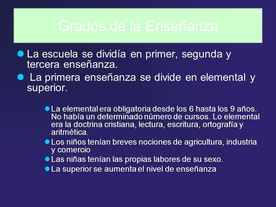 Grados de la Enseñanza La escuela se dividía en primer, segunda y tercera enseñanza. La primera enseñanza se divide en elemental y superior. La elemen