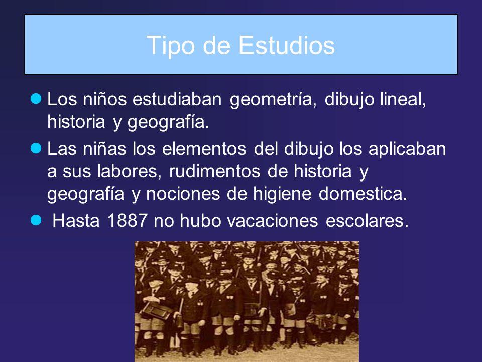 Tipo de Estudios Los niños estudiaban geometría, dibujo lineal, historia y geografía. Las niñas los elementos del dibujo los aplicaban a sus labores,