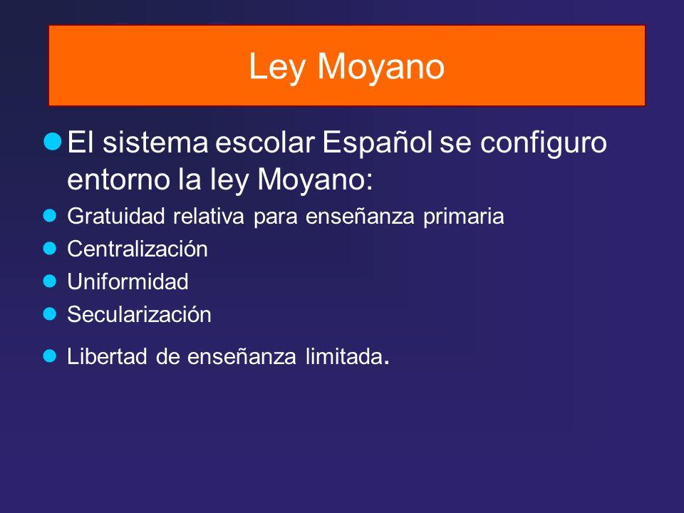 Ley Moyano El sistema escolar Español se configuro entorno la ley Moyano: Gratuidad relativa para enseñanza primaria Centralización Uniformidad Secula