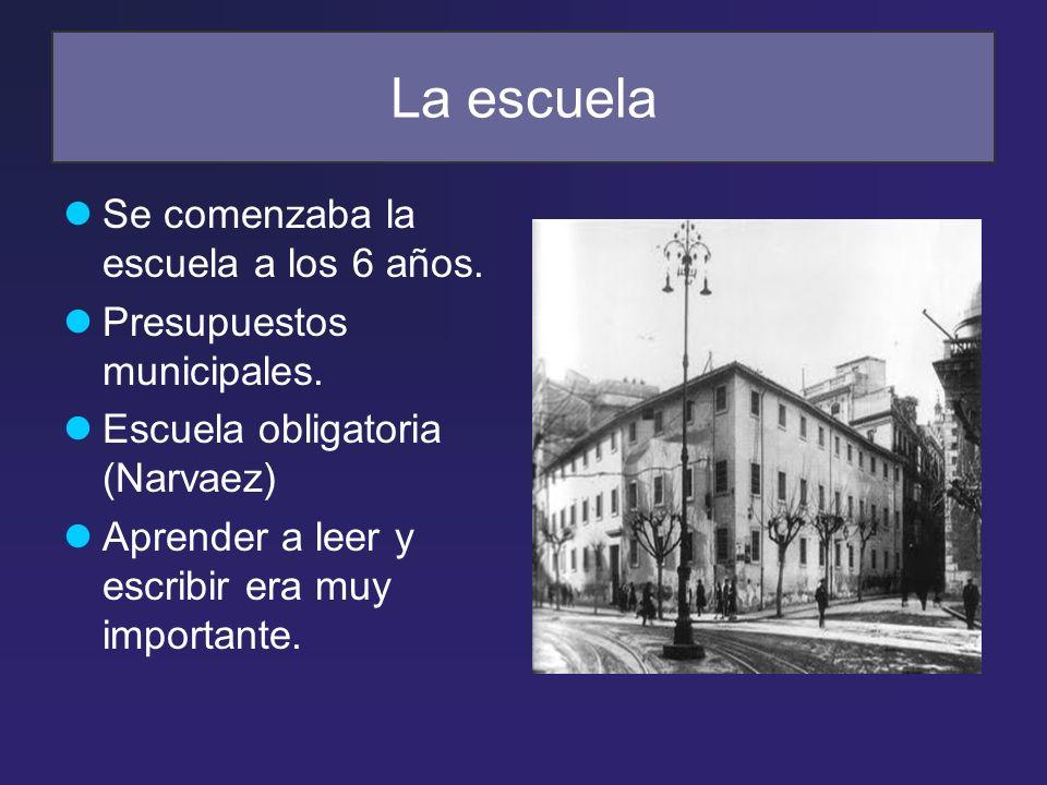 La escuela Se comenzaba la escuela a los 6 años. Presupuestos municipales. Escuela obligatoria (Narvaez) Aprender a leer y escribir era muy importante