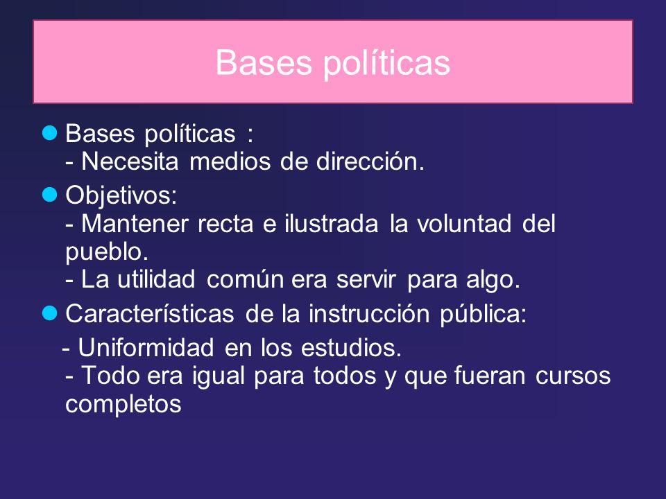 Bases políticas Bases políticas : - Necesita medios de dirección. Objetivos: - Mantener recta e ilustrada la voluntad del pueblo. - La utilidad común