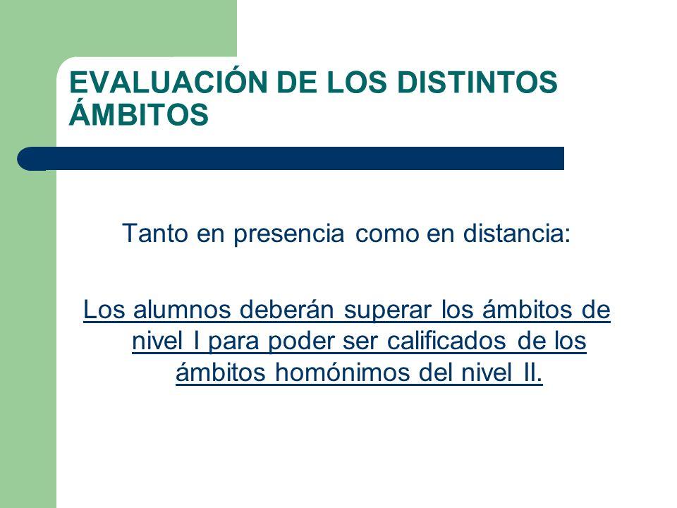 EVALUACIÓN DE LOS DISTINTOS ÁMBITOS Tanto en presencia como en distancia: Los alumnos deberán superar los ámbitos de nivel I para poder ser calificados de los ámbitos homónimos del nivel II.