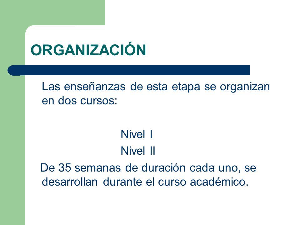 ORGANIZACIÓN Las enseñanzas de esta etapa se organizan en dos cursos: Nivel I Nivel II De 35 semanas de duración cada uno, se desarrollan durante el curso académico.