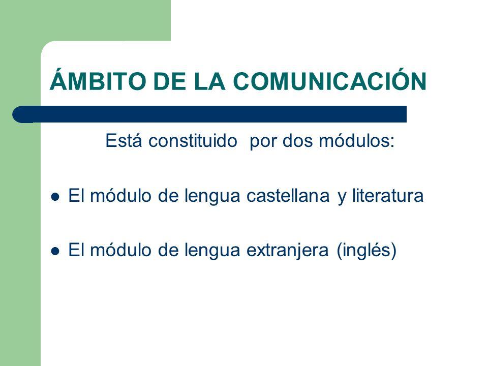 ÁMBITO DE LA COMUNICACIÓN Está constituido por dos módulos: El módulo de lengua castellana y literatura El módulo de lengua extranjera (inglés)