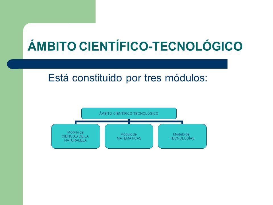 ÁMBITO CIENTÍFICO-TECNOLÓGICO Está constituido por tres módulos: ÁMBITO CIENTÍFICO- TECNOLÓGICO Módulo de CIENCIAS DE LA NATURALEZA Módulo de MATEMÁTICAS Módulo de TECNOLOGÍAS