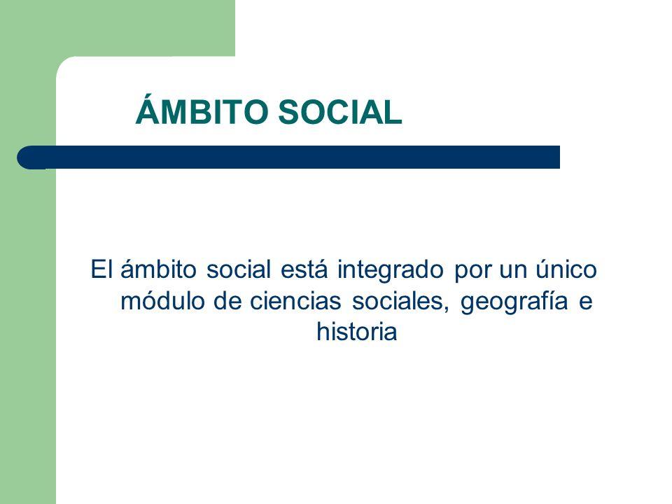 ÁMBITO SOCIAL El ámbito social está integrado por un único módulo de ciencias sociales, geografía e historia