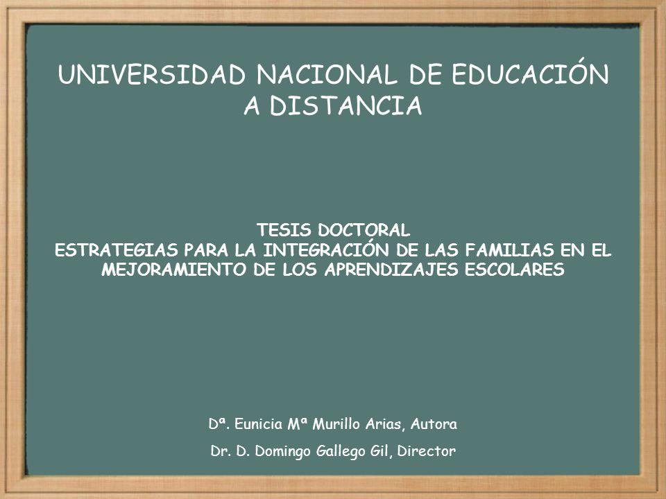 TESIS DOCTORAL ESTRATEGIAS PARA LA INTEGRACIÓN DE LAS FAMILIAS EN EL MEJORAMIENTO DE LOS APRENDIZAJES ESCOLARES UNIVERSIDAD NACIONAL DE EDUCACIÓN A DI