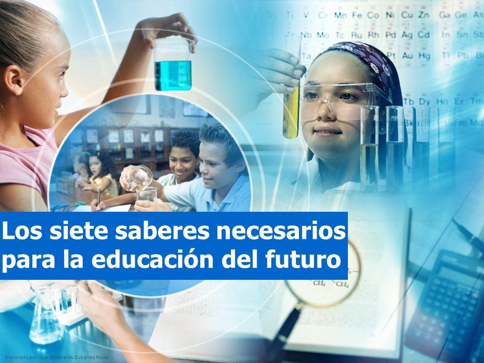 Elaborado por Gpe. Esmeralda Gutiérrez Rosas Los siete saberes necesarios para la educación del futuro