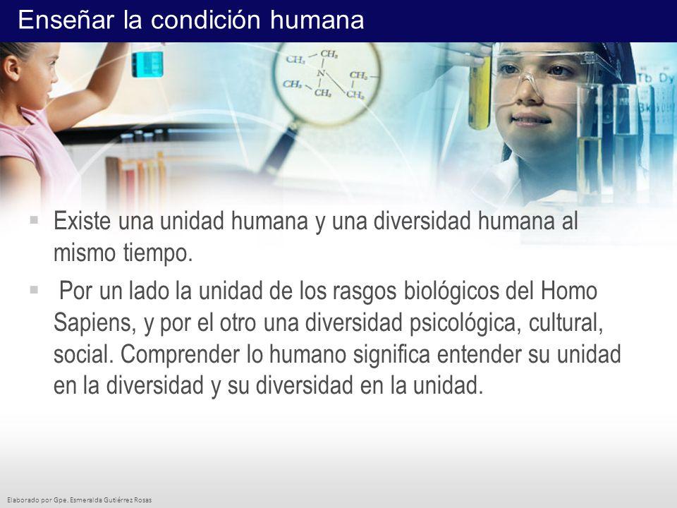 Elaborado por Gpe. Esmeralda Gutiérrez Rosas Existe una unidad humana y una diversidad humana al mismo tiempo. Por un lado la unidad de los rasgos bio