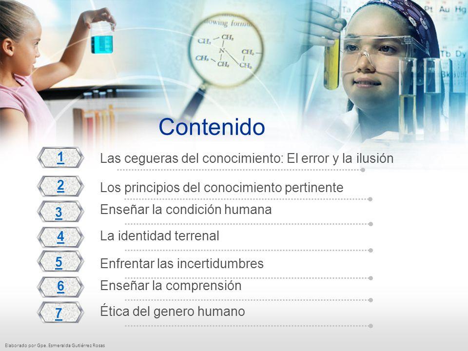 Elaborado por Gpe. Esmeralda Gutiérrez Rosas Contenido Las cegueras del conocimiento: El error y la ilusión 2 3 4 5 6 7 Los principios del conocimient
