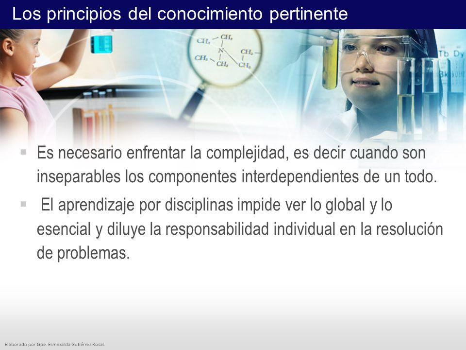 Elaborado por Gpe. Esmeralda Gutiérrez Rosas Es necesario enfrentar la complejidad, es decir cuando son inseparables los componentes interdependientes