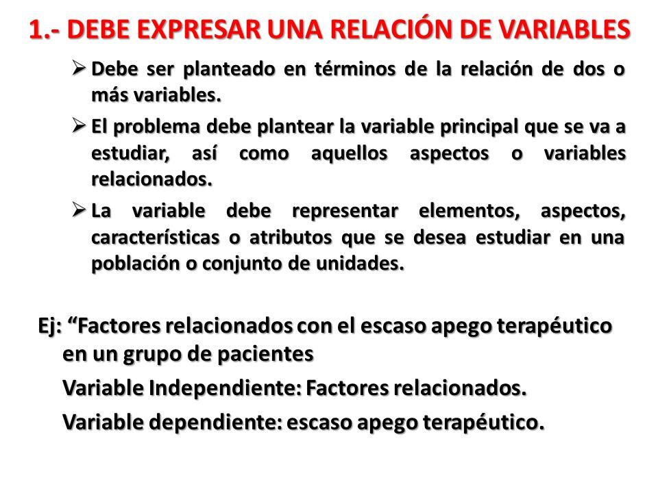 1.- DEBE EXPRESAR UNA RELACIÓN DE VARIABLES Debe ser planteado en términos de la relación de dos o más variables. Debe ser planteado en términos de la