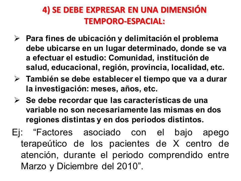 4) SE DEBE EXPRESAR EN UNA DIMENSIÓN TEMPORO-ESPACIAL: Para fines de ubicación y delimitación el problema debe ubicarse en un lugar determinado, donde