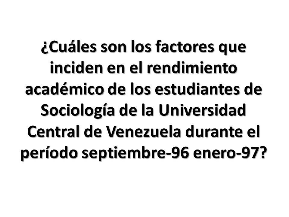 ¿Cuáles son los factores que inciden en el rendimiento académico de los estudiantes de Sociología de la Universidad Central de Venezuela durante el pe