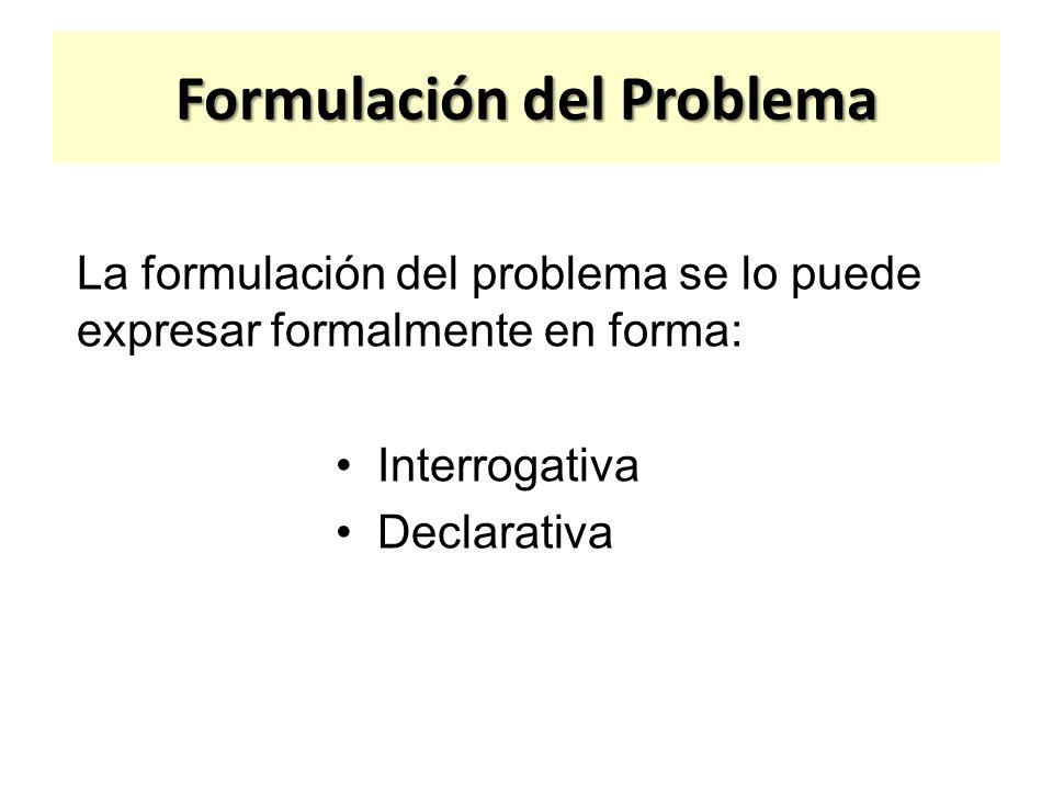 Formulación del Problema En forma interrogativa: ¿Cuáles son los factores que inciden en el rendimiento académico de los estudiantes de Sociología de la Universidad Central de Venezuela durante el período septiembre-96 enero-97.