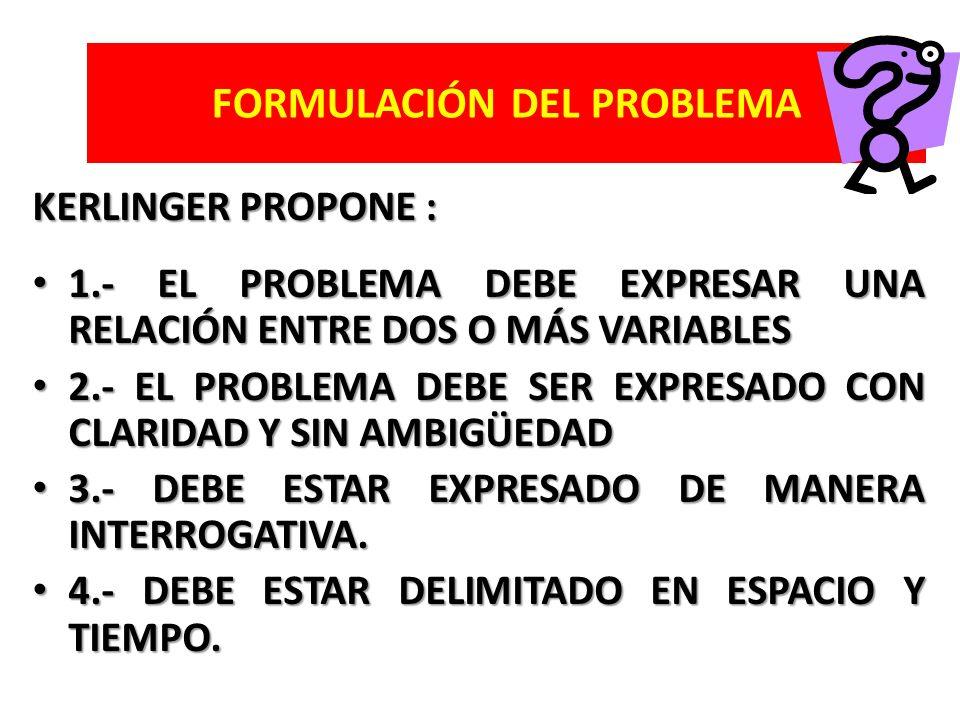 KERLINGER PROPONE : 1.- EL PROBLEMA DEBE EXPRESAR UNA RELACIÓN ENTRE DOS O MÁS VARIABLES 1.- EL PROBLEMA DEBE EXPRESAR UNA RELACIÓN ENTRE DOS O MÁS VA
