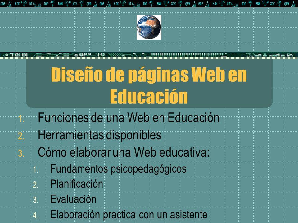 Diseño de páginas Web en Educación 1.Funciones de una Web en Educación 2.