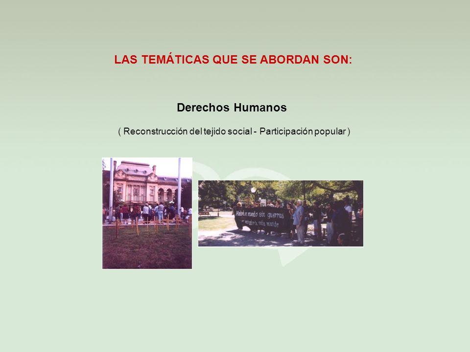 Derechos Humanos LAS TEMÁTICAS QUE SE ABORDAN SON: ( Reconstrucción del tejido social - Participación popular )