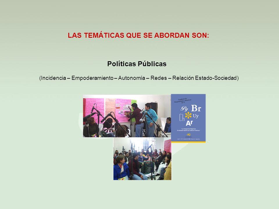 Políticas Públicas LAS TEMÁTICAS QUE SE ABORDAN SON: (Incidencia – Empoderamiento – Autonomía – Redes – Relación Estado-Sociedad)