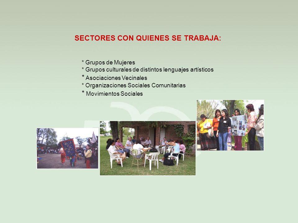 SECTORES CON QUIENES SE TRABAJA: * Grupos de Mujeres * Grupos culturales de distintos lenguajes artísticos * Asociaciones Vecinales * Organizaciones Sociales Comunitarias * Movimientos Sociales