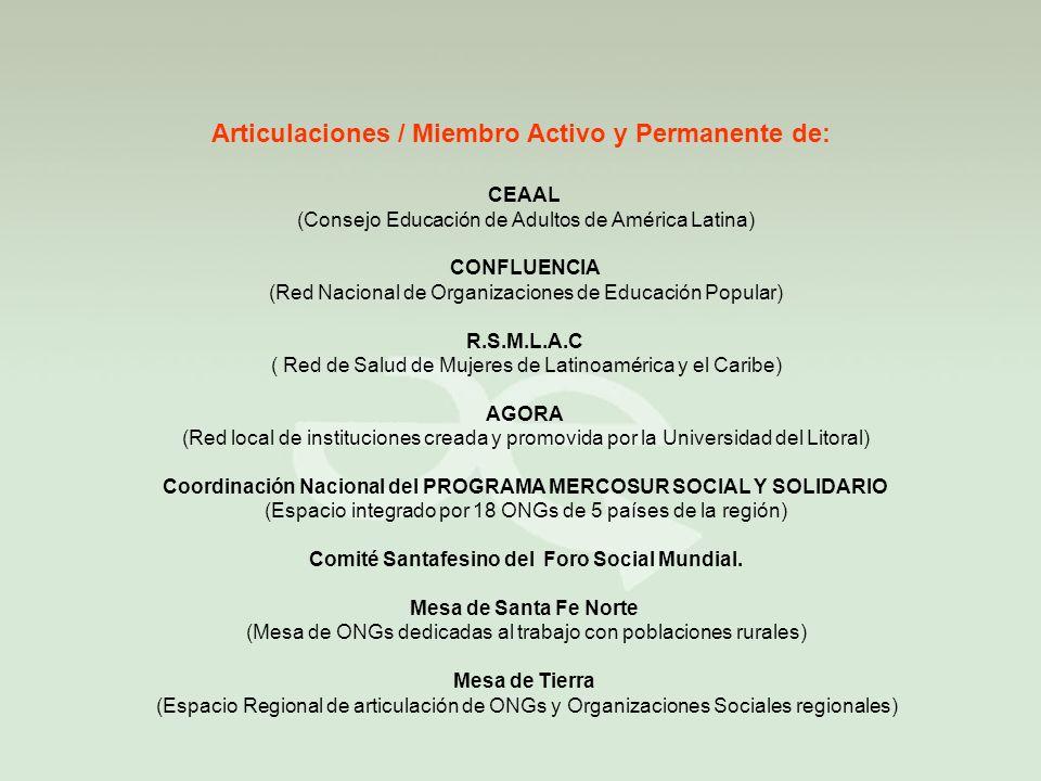 Articulaciones / Miembro Activo y Permanente de: CEAAL (Consejo Educación de Adultos de América Latina) CONFLUENCIA (Red Nacional de Organizaciones de Educación Popular) R.S.M.L.A.C ( Red de Salud de Mujeres de Latinoamérica y el Caribe) AGORA (Red local de instituciones creada y promovida por la Universidad del Litoral) Coordinación Nacional del PROGRAMA MERCOSUR SOCIAL Y SOLIDARIO (Espacio integrado por 18 ONGs de 5 países de la región) Comité Santafesino del Foro Social Mundial.