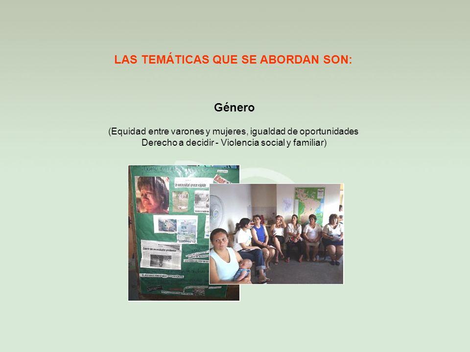 Género LAS TEMÁTICAS QUE SE ABORDAN SON: (Equidad entre varones y mujeres, igualdad de oportunidades Derecho a decidir - Violencia social y familiar)