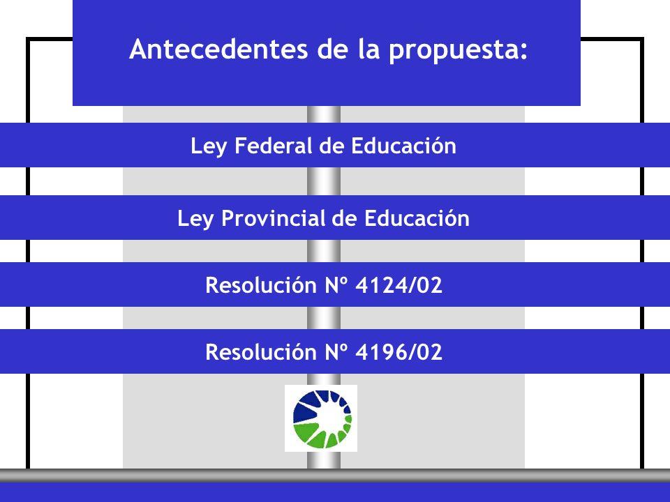 Ley Federal de EducaciónLey Provincial de EducaciónResolución Nº 4124/02Resolución Nº 4196/02 Antecedentes de la propuesta: