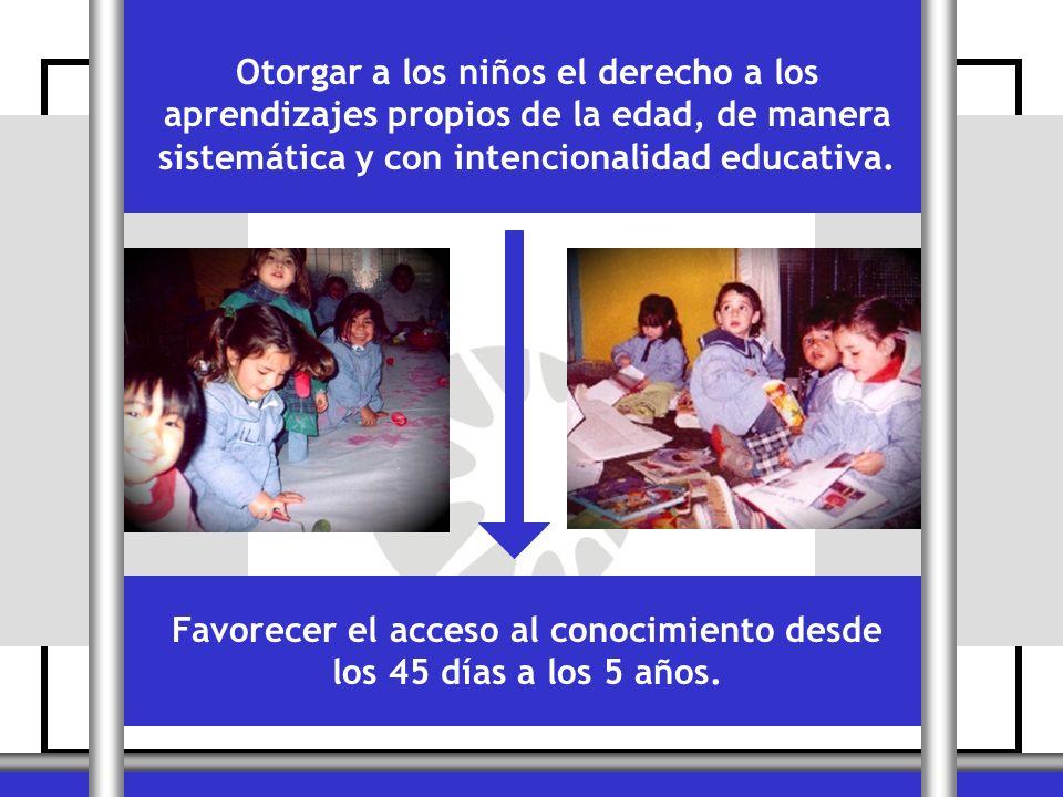 Otorgar a los niños el derecho a los aprendizajes propios de la edad, de manera sistemática y con intencionalidad educativa. Favorecer el acceso al co