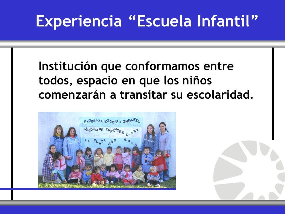 Institución que conformamos entre todos, espacio en que los niños comenzarán a transitar su escolaridad. Experiencia Escuela Infantil