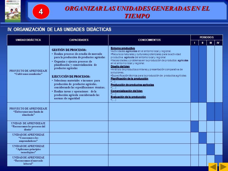 UNIDAD DIDACTICA CAPACIDADESCONOCIMIENTOS PERIODOSIIIIIIiv PROYECTO DE APRENDIZAJE Nro.