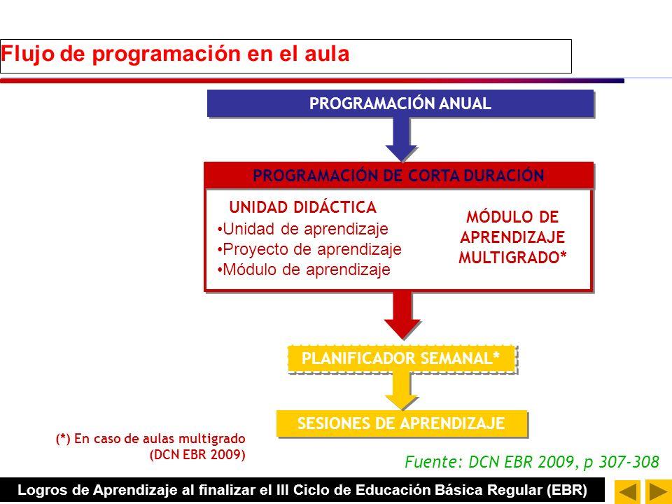 Flujo de programación en el aula PROGRAMACIÓN ANUAL PROGRAMACIÓN DE CORTA DURACIÓN PLANIFICADOR SEMANAL* SESIONES DE APRENDIZAJE UNIDAD DIDÁCTICA MÓDULO DE APRENDIZAJE MULTIGRADO* (*) En caso de aulas multigrado (DCN EBR 2009) Unidad de aprendizaje Proyecto de aprendizaje Módulo de aprendizaje Fuente: DCN EBR 2009, p 307-308 Logros de Aprendizaje al finalizar el III Ciclo de Educación Básica Regular (EBR)