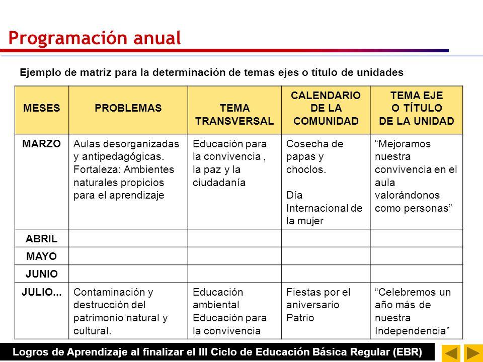 Codificación de capacidades SELECCIÓN Y DISTRIBUCIÓN DE CAPACIDADES (que ya contienen conocimientos y actitudes) PROGRAMACIÓN ANUAL estimación del tiempo para el año escolar Calendarios cívico escolar y de la comunidad.