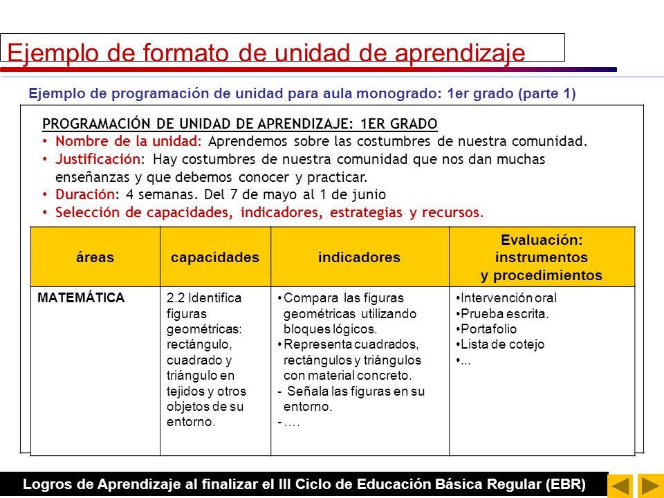 DCN EBR 2009, página 307 Estructura de PROYECTO DE APRENDIZAJE TÍTULO DE LA UNIDAD (nombre o tema eje) JUSTIFICACIÓN DURACIÓN ESTRATEGIAS METODOLOGICAS Y RECURSOS CAPACIDADES, CONOCIMIENTOS Y ACTITUDES INDICADORES EVALUACIÓN En el caso de los proyectos, las actividades que se van a realizar se deciden con los y las estudiantes.