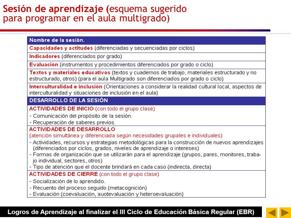 Estructura sugerida de sesión de aprendizaje multigrado ESTRUCTURA DE SESIÓN NOMBRE DE LA SESIÓN CAPACIDADES POR CICLO ESTRATEGIAS DE ATENCIÓN Y ORGANIZACIÓN (ASD) ESTRATEGIAS Y RECURSOS METODOLOGICOS INDICADORES DIFERENCIADOS POR GRADOS MATERIALES Y RECURSOS INTERCULTURALIDAD E INCLUSIÓN EVALUACIÓN ACTIVIDADES INICIO DESARROLLO CIERRE Estructura sugerida para aulas multigrado Logros de Aprendizaje al finalizar el III Ciclo de Educación Básica Regular (EBR)