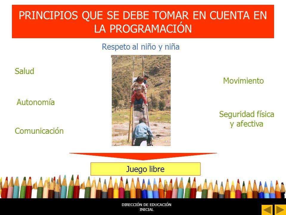 DIRECCIÓN DE EDUCACIÓN INICIAL PRINCIPIOS QUE SE DEBE TOMAR EN CUENTA EN LA PROGRAMACIÓN Respeto al niño y niña Juego libre Seguridad física y afectiva Autonomía Salud Movimiento Comunicación