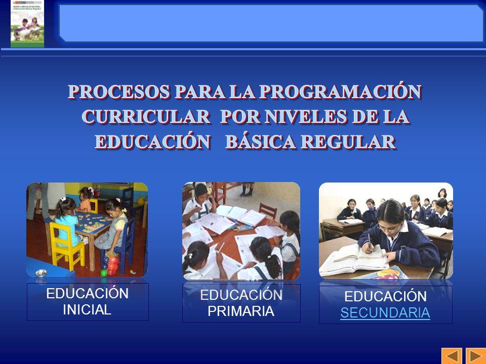 EDUCACIÓN INICIAL EDUCACIÓN PRIMARIA EDUCACIÓN SECUNDARIA