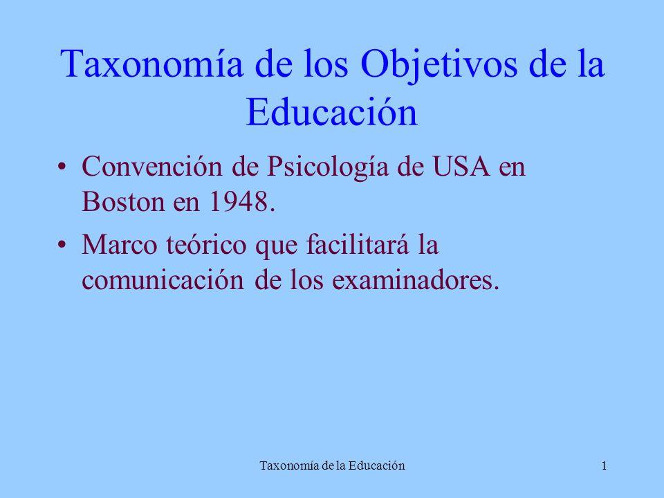 Taxonomía de la Educación1 Taxonomía de los Objetivos de la Educación Convención de Psicología de USA en Boston en 1948. Marco teórico que facilitará