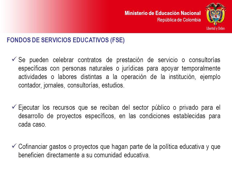 Ministerio de Educación Nacional República de Colombia FONDOS DE SERVICIOS EDUCATIVOS (FSE) Se pueden celebrar contratos de prestación de servicio o c
