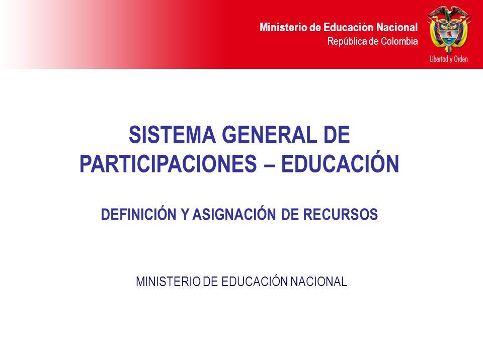 Ministerio de Educación Nacional República de Colombia SISTEMA GENERAL DE PARTICIPACIONES – EDUCACIÓN DEFINICIÓN Y ASIGNACIÓN DE RECURSOS MINISTERIO D