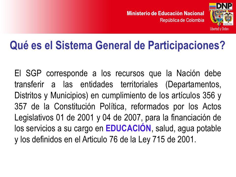Ministerio de Educación Nacional República de Colombia Qué es el Sistema General de Participaciones? El SGP corresponde a los recursos que la Nación d