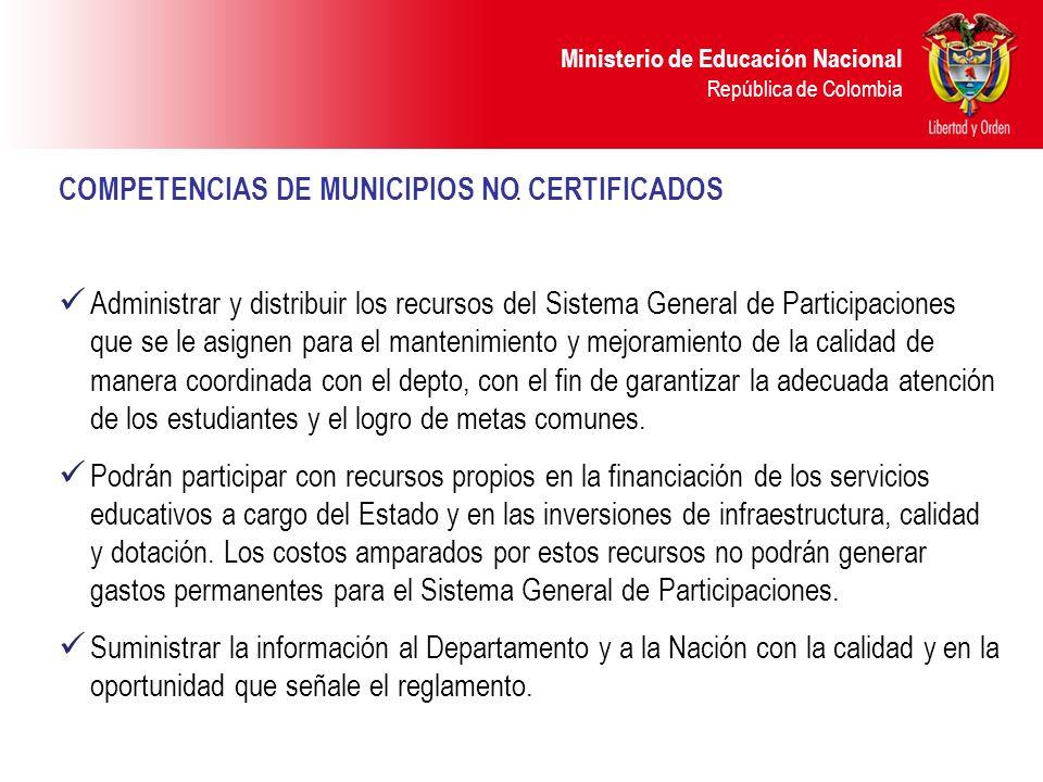 Ministerio de Educación Nacional República de Colombia. COMPETENCIAS DE MUNICIPIOS NO CERTIFICADOS Administrar y distribuir los recursos del Sistema G
