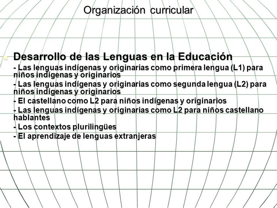 Organización curricular Desarrollo de las Lenguas en la Educación Desarrollo de las Lenguas en la Educación - Las lenguas indígenas y originarias como