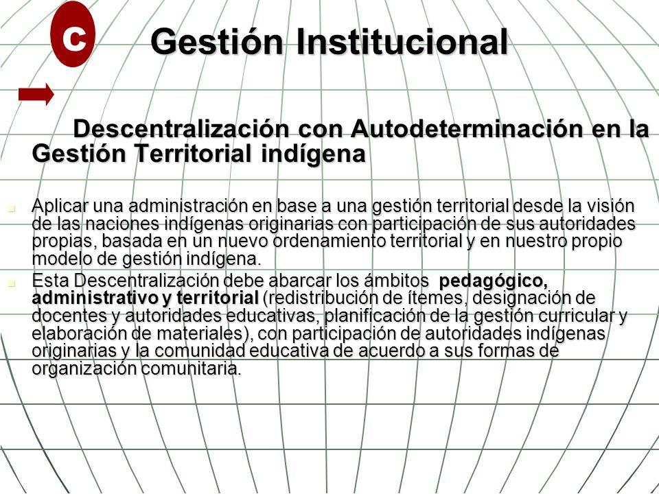Gestión Institucional Descentralización con Autodeterminación en la Gestión Territorial indígena Aplicar una administración en base a una gestión terr