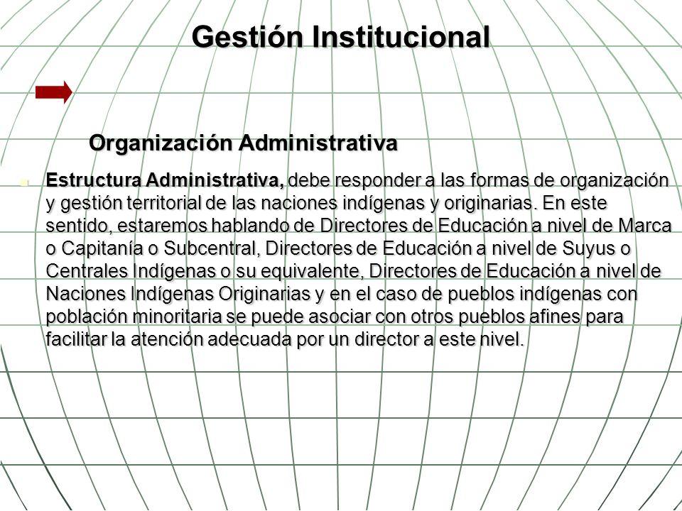 Gestión Institucional Organización Administrativa Estructura Administrativa, debe responder a las formas de organización y gestión territorial de las
